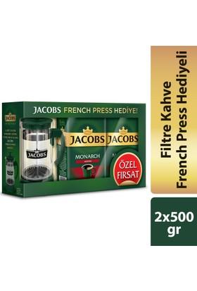 Jacobs Monarch Aroma Filtre Kahve 2 x 500 gr + French Press