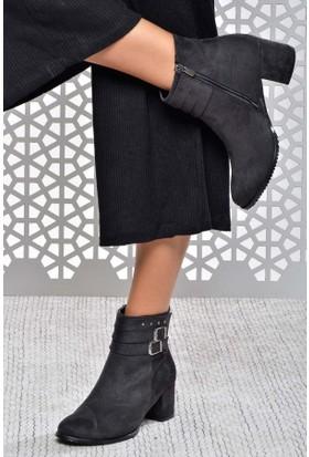 Shoes Time Kadın Topuklu Bot Siyah 17K 422