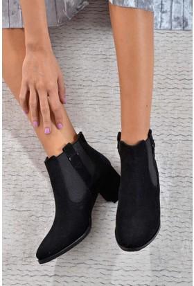Shoes Time Kadın Topuklu Bot Siyah 17K 605