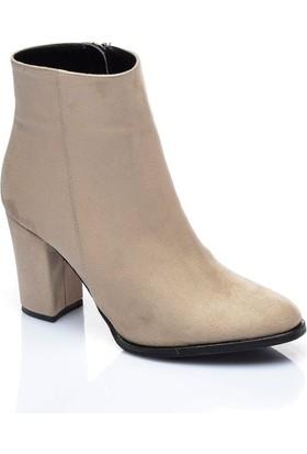 Shoes Time Kadın Topuklu Bot Bej 17K 1407