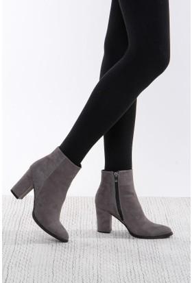 Shoes Time Kadın Topuklu Bot Gri 17K 1407