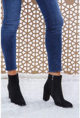 Shoes Time Kadın Topuklu Bot Siyah 17K 1407
