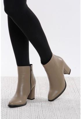 Shoes Time Kadın Topuklu Bot Vizon 17K 1407