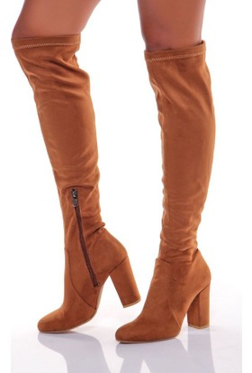 Shoes Time Kadın Topuklu Çizme Taba 17K 708
