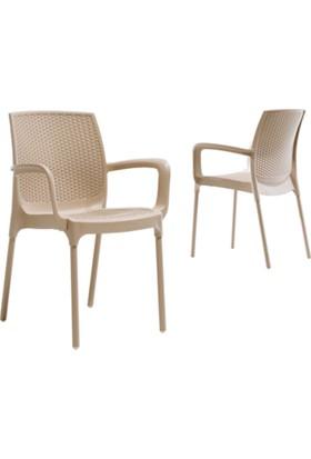 Novussi Sunset Rattan Model Sandalye 2 Adet Cappucıno Renk