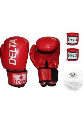 Delta Boks Eldiven Seti - Kırmızı (1 Çift AGRE Boks Eldiveni - 1 Çift Kol Bandajı - Dişlik)