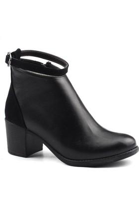 Ayakland 837 Siyah Bayan Cilt Bot Ayakkabı