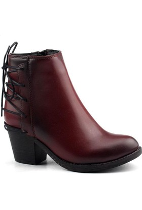 Tofima 9144 Bordo Bayan Cilt Bot Ayakkabı