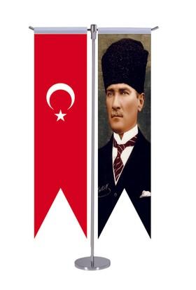 Türk Bayrağı Ve Atatürk Masa Bayrak Takımı 8X31Cm Ölçülerinde
