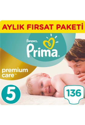 Prima Bebek Bezi Premium Care 5 Beden Junior Aylık Fırsat Paketi 136 Adet