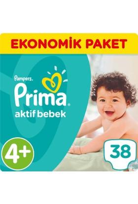Prima Bebek Bezi Aktif Bebek 4+ Beden Maxi Plus Ekonomik Paket 38 Adet