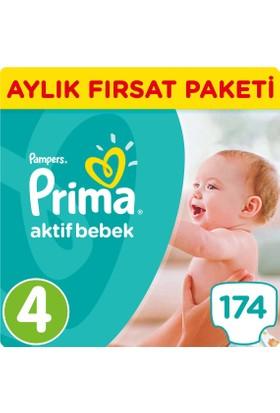 Prima Bebek Bezi Aktif Bebek 4 Beden Maxi Aylık Fırsat Paketi Paket 174 Adet