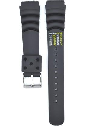 Ztd Strap 20Mm Dalgıç Modeli Siyah Silikon Saat Kordonu Bms228