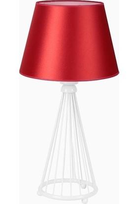 Lumexx Akel Masa Lambası Beyaz Ayak Kırmızı Pramit Abajur