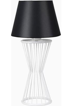 Lumexx Baler Masa Lambası Beyaz Ayak Skala Siyah Pramit Abajur