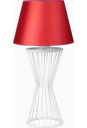 Lumexx Baler Masa Lambası Beyaz Ayak Skala Kırmızı Pramit Abajur