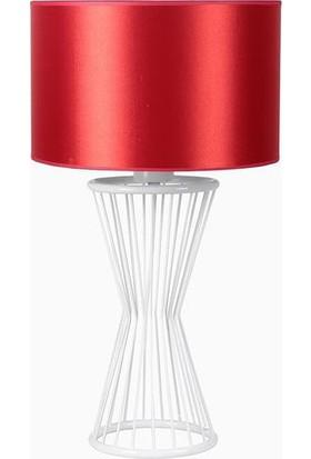 Lumexx Baler Masa Lambası Beyaz Ayak Silindir Kırmızı Abajur