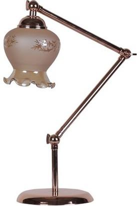 Lumexx Yonca Masa Lambası Bakır Ayak Fanus Sarı Suğan Kabuğu Camlı