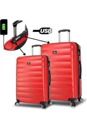 509a85c2c3af5 My Valice Smart Bag Colors Usb Şarj Girişli 2'li Valiz Seti (Büyük ve ...