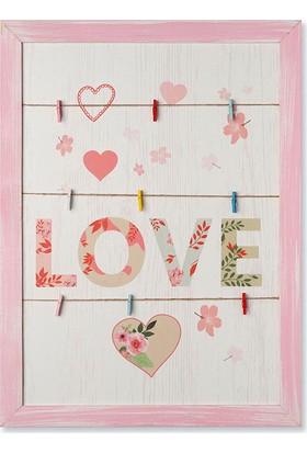 Ahşap Mandallı Not Tutucu ''LOVE'' - 35x47.5 cm. - Ev Dekorasyonu