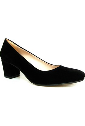 Zenay 1403 Siyah Süet Topuklu Bayan Ayakkabı