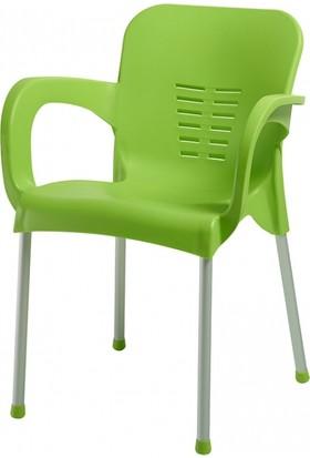 Plastico Aliminyum Ayaklı Plastik Kollu Sandalye Yeşil