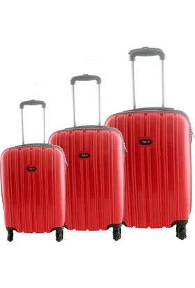 Tutqn Safarı Kırılmaz 3lü Valiz Seti Kırmızı