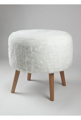 Monte Sehpa Peluş Puf Beyaz