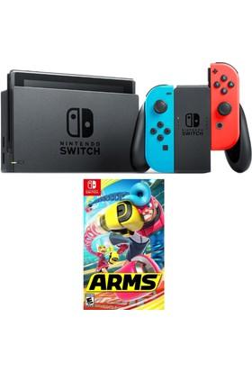 Nintendo Switch Renkli + Arms Switch Oyun