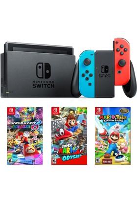 Nintendo Switch Renkli + MarioKart Deluxe Oyun + Super Mario Odyssey Oyun + Mario Rabbids Oyun