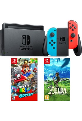 Nintendo Switch Renkli + Super Mario Odyssey Switch Oyun + Zelda Switch Oyun