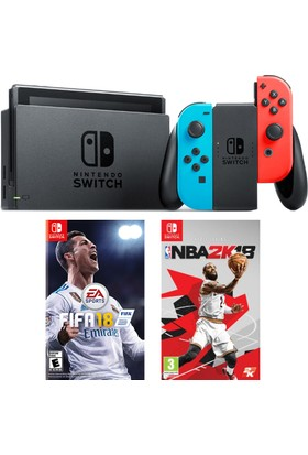 Nintendo Switch Renkli + Fifa 18 Switch Oyun + Nba 2K18 Switch Oyun