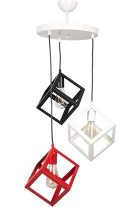 Gzhome Modern 3'Lü Kırmızı&Siyah&Beyaz Avize