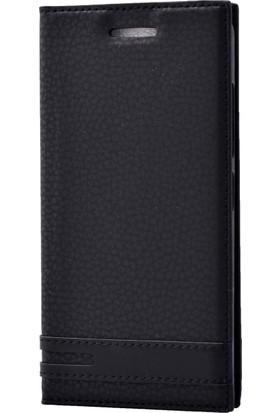Case 4U Samsung Galaxy A8 2018 Kılıf Gizli Mıknatıslı Kapaklı Siyah