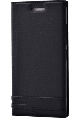 Case 4U Sony Xperia XZ Premium Kılıf Gizli Mıknatıslı Kapaklı Siyah