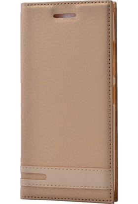 Case 4U Sony Xperia XZ Premium Kılıf Gizli Mıknatıslı Kapaklı Altın