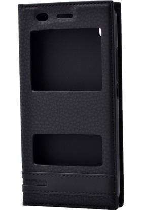 Case 4U General Mobile GM6 GM 6 Kılıf Pencereli Kapaklı Siyah