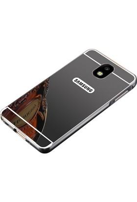 Case 4U Samsung Galaxy J730 J7 Pro Kılıf Aynalı Metal Arka Kapak Siyah
