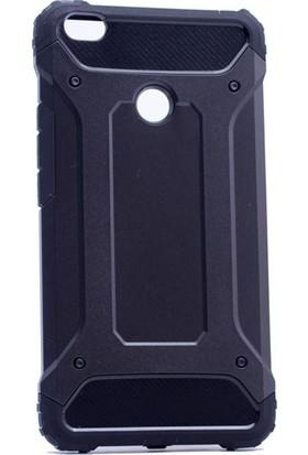 Case 4U Xiaomi Mi Max 2 Kılıf Çift Katmanlı Tank Kapak Siyah