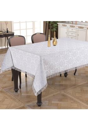 Prado Golden Laurel Laced Dertsiz Masa Örtüsü 140X180 Beyaz