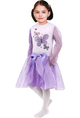 Oulabi Mir Kelebek Baskılı Lila Kostüm
