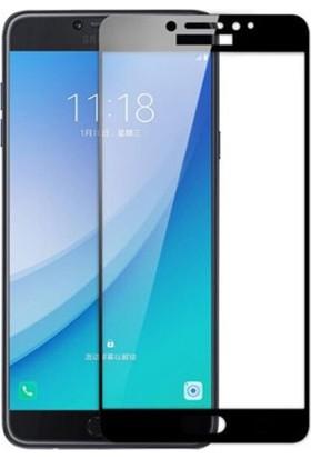 Eiroo Samsung Galaxy C5 Pro Curve Tempered Glass Full Siyah Cam Ekran Koruyucu