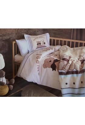 Özdilek Premium Bear&Rabbit Mavi Bebek Battaniyeli Nevresim Takımı