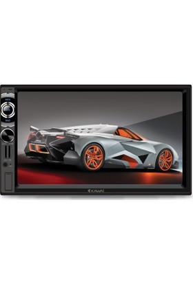 Kawai KW-3000 Bluetooth Ön Arka Kamera AUX -SD-USB Girişli Double Din Oto Teyp