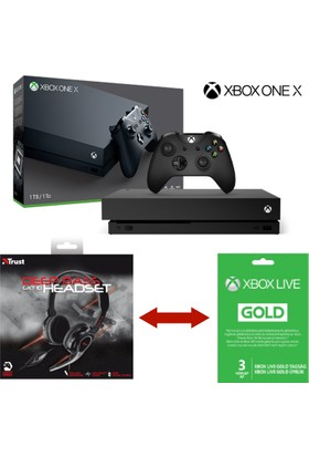 Xbox One X 1Tb Konsol + Gaming Kulaklık + 3 Aylık Plus Üyelik