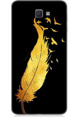 Teknomeg Samsung Galaxy J7 Prime Altın Tüy Ve Kuşlar Desenli Silikon Kılıf