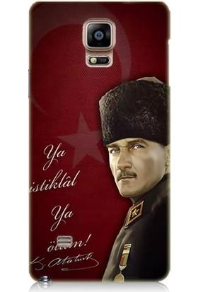 Teknomeg Samsung Galaxy Note 4 Atatürk Ya İstiklal Ya Ölüm Desenli Silikon Kılıf