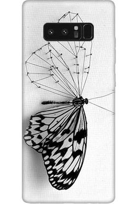 Teknomeg Samsung Galaxy Note 8 Kanatsız Kelebek Baskılı Silikon Kapak Kılıf