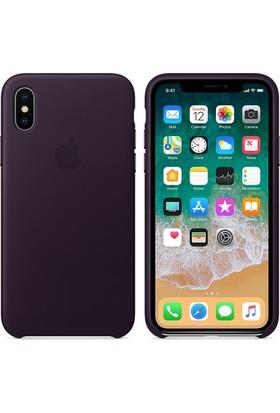 Apple iPhone X Deri Kılıf PatlıcanMoru MQTG2ZM/A (Apple Türkiye Garantili)