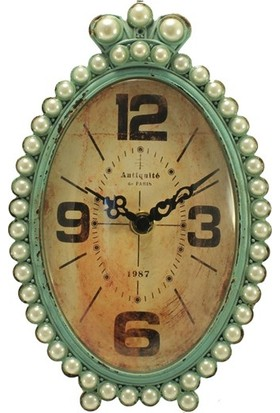 İnci Taşlı Turkuaz Retro Oval Masa Saati